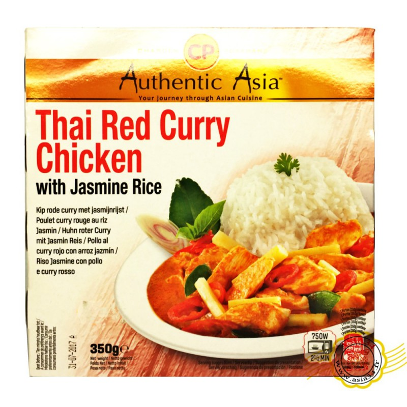 Poulet Curry Rouge au Riz Thai Jasmin Authentic Asia 350g